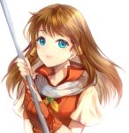 1girl blue_eyes brown_hair closed_mouth fire_emblem fire_emblem:_radiant_dawn holding holding_staff jurge long_hair mist_(fire_emblem) simple_background solo staff upper_body white_background