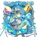! 1girl bag black_headwear bow clenched_hand commentary_request cowboy_shot dress frame frills ghost green_dress green_eyes green_hair hand_print hand_up hat hat_bow heart heart_of_string komeiji_koishi long_sleeves looking_at_viewer neck_ribbon no_entry_sign ribbon road_sign sekisei_(superego51) shirt short_hair shoulder_bag sign smile solo stanchion third_eye touhou warning_sign wide_sleeves yellow_bow yellow_shirt