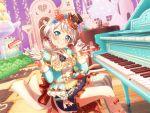 bang_dream! blush dress green_eyes grey_hair piano short_hair smile wakamiya_eve
