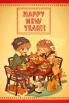 1boy 1girl 2018 bag bangs beanie blunt_bangs blush brown_hair closed_eyes dog eyebrows_visible_through_hair food fork happy_new_year hat highres holding_drink hood hood_down long_sleeves new_year open_mouth original plate shoes short_hair sitting smile steam table wataori_(ippuku_shimasho)