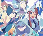 1boy 3girls ;d altaria bird blue_eyes blue_hair breasts claws elite_four expressionless eyelashes face flower fuuro_(pokemon) gen_1_pokemon gen_3_pokemon gen_5_pokemon gen_7_pokemon gloves golf_club gym_leader hair_flower hair_ornament hair_over_one_eye hayato_(pokemon) holding holding_golf_club kahili_(pokemon) light_blue_eyes light_blue_hair long_hair long_sleeves looking_at_viewer medium_breasts multiple_girls nagi_(pokemon) one_eye_closed open_mouth pidgeotto pokemon pokemon_(creature) pokemon_(game) pokemon_bw pokemon_hgss pokemon_oras pokemon_sm purple_hair sidelocks signature smile ssalbulre swanna toucannon