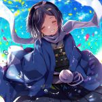 1boy ^_^ black_hair blue_sky blush bow closed_eyes grin hair_bow hakama haori head_tilt japanese_clothes male_focus mole mole_under_eye petals pom_pom_(clothes) ponytail scarf shinsengumi sky smile touken_ranbu uguisu_mochi_(ykss35) white_scarf yamato-no-kami_yasusada