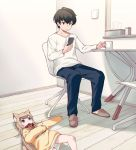 1boy 1girl 40hara animal_ear_fluff animal_ears bangs black_hair blonde_hair blunt_bangs cat_ears cat_tail cellphone chair chestnut_mouth clothes_writing collar commentary_request cup eyebrows_visible_through_hair green_eyes indoors kinako long_hair looking_at_another looking_at_phone lying mug on_back open_mouth original pet_collar phone red_collar shirt short_hair sitting slippers smartphone sweater table tail tissue_box white_shirt