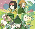2boys 3girls asymmetrical_bangs bangs beard black_hair blunt_bangs bow bowtie breasts closed_eyes creature dent_(pokemon) erika_(pokemon) face facial_hair fukuji_(pokemon) gen_1_pokemon gen_5_pokemon gen_6_pokemon gen_7_pokemon gogoat green_eyes green_hair gym_leader hat holding japanese_clothes kimono light_brown_hair long_hair looking_at_viewer mao_(pokemon) multiple_boys multiple_girls natane_(pokemon) old_man pansage poke_ball poke_ball_(generic) pokemon pokemon_(creature) pokemon_(game) pokemon_bw pokemon_dppt pokemon_hgss pokemon_sm pokemon_xy roserade short_hair sidelocks signature small_breasts smile spoon ssalbulre steenee tray trial_captain vileplume
