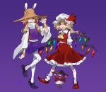 3girls arlmuffin asymmetrical_hair bags_under_eyes bangle bangs black_footwear blonde_hair bowl bowl_hat bracelet closed_mouth collared_shirt english_commentary flandre_scarlet full_body hair_between_eyes hair_ribbon hat hat_ribbon highres jewelry jitome leg_up long_sleeves low_twintails medium_hair mob_cap moriya_suwako multiple_girls neckerchief open_mouth puffy_short_sleeves puffy_sleeves purple_background red_eyes red_footwear red_ribbon red_vest ribbon sharp_teeth shirt short_sleeves side_ponytail simple_background smile smirk socks standing standing_on_one_leg sukuna_shinmyoumaru teeth thigh-highs touhou twintails vest white_legwear white_shirt wide_sleeves yellow_neckwear