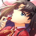 1girl bangs black_bow blue_eyes bow brown_hair collared_shirt eyebrows_visible_through_hair fate/stay_night fate_(series) floating_hair from_side gem hair_between_eyes hair_bow holding jacket long_hair neck_ribbon open_clothes open_jacket portrait red_jacket riako ribbon shirt solo striped striped_ribbon toosaka_rin twintails very_long_hair white_shirt wing_collar