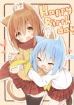 >_< 2girls :d ahoge animal_ears ayanepuna bangs black_legwear blue_hair blush borrowed_character brown_eyes brown_footwear brown_hair brown_sweater cat_ears cat_girl cat_tail claw_pose closed_eyes commentary_request eyebrows_visible_through_hair hair_between_eyes happy_birthday heart highres hug hug_from_behind kneehighs loafers long_sleeves multiple_girls open_mouth original outline plaid plaid_skirt pleated_skirt red_skirt sailor_collar school_uniform serafuku shirt shoes skirt sleeves_past_wrists smile sweater tail thigh-highs white_legwear white_outline white_sailor_collar white_shirt xd