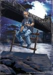 1boy baggy_clothes baggy_pants bald black_shirt blue_footwear blue_sky bridge city clouds cloudy_sky dark_clouds dark_sky facial_hair goatee jewelry looking_at_viewer new_york night night_sky original pants queensboro_bridge river rock shirt shoes sitting sky sneakers solo_focus t-shirt v watch water