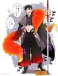 1boy abs black_hair box cosplay crop_top doudanuki_masakuni facial_scar feather_boa hakama high_heels highres hip_vent japanese_clothes male_focus midriff naginata nemo_(insignis_b) open_mouth polearm scar shizukagata_naginata shizukagata_naginata_(cosplay) touken_ranbu translation_request weapon yellow_eyes