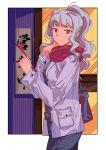 1girl bag coat highres idolmaster idolmaster_(classic) liu_chi_tiantang_fr long_hair pants ponytail scarf shijou_takane silver_hair solo violet_eyes