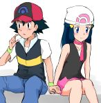 1boy 1girl baseball_cap black_hair black_shirt blue_eyes blue_hair blue_pants blush choker closed_mouth collarbone couple embarrassed haruzu2000 hat highres hikari_(pokemon) holding_hands long_hair miniskirt pants pink_ribbon pink_skirt poke_ball_print pokemon pokemon_(anime) print_hat ribbon ribbon_choker satoshi_(pokemon) shirt short_sleeves simple_background sitting sketch skirt sleeveless sleeveless_shirt white_background white_headwear wristband