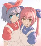 2girls bangs blue_eyes blue_hair blue_ribbon blue_shirt blush brown_eyes collared_shirt commentary_request dress eyebrows_visible_through_hair grey_background hair_between_eyes hair_ribbon multiple_girls omega_rei omega_rio omega_sisters omega_symbol parted_lips pink_hair red_ribbon red_shirt ribbon shirt signature sleeveless sleeveless_dress smile twintails umiroku upper_body virtual_youtuber white_dress