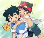 2boys baseball_cap black_eyes black_shorts blue_shirt blush book brown_eyes cape gen_7_pokemon hat hug hug_from_behind incineroar kukui_(pokemon) multiple_boys okaohito1 one_eye_closed open_mouth pokemon pokemon_(anime) pokemon_sm_(anime) satoshi_(pokemon) shirt shirtless shorts sparkle younger