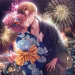 1girl blue_kimono blush brown_hair festival fireworks floral_print hair_ornament highres japanese_clothes je35353577 kimono kiss long_hair night obi open_mouth original print_kimono sash summer_festival yukata