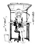 1girl breasts commentary dagashi_kashi feet glasses greyscale highres jacket kotoyama looking_at_viewer medium_hair monochrome open_mouth owari_hajime semi-rimless_eyewear shirt skirt solo