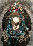 1girl bangs blue_flower blunt_bangs brown_hair closed_mouth collar detached_collar flower green_eyes headdress long_hair looking_at_viewer micho original red_flower solo upper_body yellow_flower