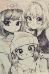 3girls bangs beanie blush eyelashes greyscale hand_on_shoulder hat long_hair looking_at_viewer minapo monochrome moon_(pokemon) multiple_girls platinum_berlitz pokemon pokemon_special scarf short_hair sidelocks signature smile thank_you traditional_media y_na_gaabena