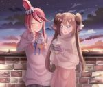 2girls :d ;t alternate_costume bangs black_skirt blue_eyes blue_ribbon brick_wall brown_hair casteliacone casual clouds cloudy_sky collarbone commentary_request cowboy_shot cup disposable_cup double_bun drinking_straw eyebrows_visible_through_hair fuuro_(pokemon) gloves hair_ornament hair_ribbon hair_scrunchie hand_on_own_cheek highres holding holding_cup long_hair long_sleeves looking_at_another mei_(pokemon) mikannjs multiple_girls neck_ribbon no_hat no_headwear open_mouth pink_skirt pokemon purple_gloves redhead ribbon scrunchie sidelocks skirt sky smile standing star_(sky) starry_sky sweater swept_bangs turtleneck turtleneck_sweater twilight twintails very_long_hair violet_eyes