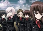 4girls akaboshi_koume black_hair brown_eyes brown_hair character_request clouds cloudy_sky girls_und_panzer green_eyes hair_between_eyes hand_in_hair hand_in_pocket highres itsumi_erika kamishima_kanon kuromorimine_military_uniform long_hair multiple_girls nishizumi_maho short_hair sky