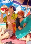 2boys abs ball beach beachball black_hoodie blue_hair brown_eyes brown_hair clouds cu_chulainn_(fate)_(all) cup drinking_glass earrings emiya_shirou fate/stay_night fate_(series) hair_strand hawaiian_shirt innertube jewelry lancer long_hair looking_at_another male_focus messy_hair mouth_hold multiple_boys navel outdoors palm_tree ponytail red_eyes sandals_removed shirt shorts sitting sky summer tatsuta_age thick_eyebrows tree tropical_drink white_shorts