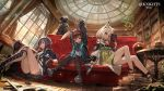 3girls amiya_(arknights) animal_ear_fluff animal_ears arknights bangs bare_shoulders black_jacket black_shorts blue_eyes blue_hair blush book bookshelf brown_hair ch'en_(arknights) character_request closed_mouth commentary copyright_name couch curtains detached_collar dragon_horns fingerless_gloves full_body gloves green_eyes highres horns indoors jacket kal'tsit lack long_hair multiple_girls official_art one_eye_closed open_clothes open_jacket open_mouth pantyhose rabbit_ears reading red_eyes shirt short_hair shorts sidelocks sitting sitting_on_floor stretch tail white_shirt window yawning