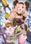 1girl ;d absurdres axe bangs battle_axe blonde_hair blue_eyes cat contrapposto fang felyne fur_trim green_coat highres horns monster_hunter monster_hunter:_world monster_hunter_portable_3rd mr.lime one_eye_closed open_mouth panties smile snow snowing staff thighs underwear v weapon winter