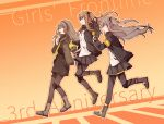3girls armband background_text belt black_footwear black_jacket black_legwear black_neckwear black_scarf black_skirt boots brown_footwear brown_hair chinese_commentary closed_eyes commentary_request demon_(abyssdemon) english_text fingerless_gloves girls_frontline gloves grey_hair hair_ornament highres hood hooded_jacket jacket jumping knee_pads long_hair miniskirt multiple_girls neck_ribbon open_mouth pantyhose ribbon running scar scar_across_eye scarf shirt siblings side_ponytail sisters skirt smile tactical_clothes thigh_strap twintails ump40_(girls_frontline) ump45_(girls_frontline) ump9_(girls_frontline) utility_belt very_long_hair white_shirt