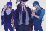 3boys adjusting_eyewear alternate_costume black_coat black_gloves black_headwear black_pants black_vest blue_hair blue_pants bracelet brass_knuckles cane cigar cigarette contemporary cowboy_shot cu_chulainn_(fate)_(all) cu_chulainn_(fate/grand_order) cu_chulainn_alter_(fate/grand_order) earrings fate/grand_order fate_(series) fedora gae_bolg gloves grey_background grin hair_over_shoulder hair_strand hand_in_pocket hat holding holding_spear holding_weapon jacket_on_shoulders jewelry lancer long_hair looking_at_viewer male_focus monster_boy multiple_boys necktie pants polearm ponytail profile red_eyes red_neckwear ring sharp_teeth shirt simple_background smile smoking spear standing sunglasses tail tatsuta_age teeth thick_eyebrows vest weapon white_shirt