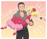 !! 2boys armpits belt belt_buckle black_belt black_hair black_pants blonde_hair buckle carrying commentary crossdressing dress emphasis_lines facial_hair flower fur_trim goatee grey_jacket hair_flower hair_ornament high_heels jacket jewelry kukui_(pokemon) medium_hair multiple_boys okaohito1 open_mouth pants pink_dress pokemon pokemon_(anime) pokemon_sm_(anime) princess_carry ring rose satoko_(pokemon) satoshi_(pokemon) smile tagme teeth translation_request upper_teeth wig z-ring