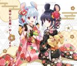 2girls :d animal_ears black_gloves black_hair black_kimono blue_flower blue_hair brown_legwear chinese_zodiac closed_mouth commentary_request egasumi floral_background floral_print flower fur-trimmed_gloves fur_trim furisode gloves hair_flower hair_ornament heterochromia holding japanese_clothes kimono long_hair long_sleeves mouse_ears multiple_girls nekozuki_yuki no_shoes omikuji open_mouth original pink_flower pink_kimono print_legwear red_eyes red_flower seiza sitting smile socks translation_request twitter_username upper_teeth violet_eyes watermark web_address white_flower wide_sleeves year_of_the_rat