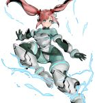 1girl alternate_costume aqua_eyes armored_boots artist_request beads bodysuit boots bracer breasts character_profile concept_art cyborg ear_protection gauntlets gloves green_bodysuit hair_beads hair_ornament high_heels jumping long_hair metal_slug metal_slug_attack midair nova_(metal_slug) official_art pink_hair solo tight twintails