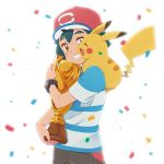1boy baseball_cap black_hair blue_shirt brown_eyes brown_shorts celebration commentary_request confetti gen_1_pokemon happy hat light object_hug okaohito1 open_mouth pikachu poke_ball_theme pokemon pokemon_(anime) pokemon_(creature) pokemon_on_shoulder pokemon_sm_(anime) satoshi_(pokemon) shirt short_sleeves shorts smile spiky_hair teeth trophy upper_body white_background z-ring