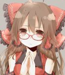 1girl ahoge bespectacled blush bow breasts brown_eyes brown_hair closed_mouth collarbone colorized eyebrows_visible_through_hair glasses hair_bow hair_tubes hakurei_reimu long_hair looking_at_viewer medium_breasts naniiro red-framed_eyewear red_bow sleeveless solo sweatdrop touhou upper_body yamasuta