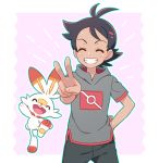 1boy arm_behind_back black_hair black_pants closed_eyes dark_skin dark_skinned_male emphasis_lines gen_8_pokemon gou_(pokemon) grey_shirt grin hand_gesture jumping okaohito1 pants pink_background pokemon pokemon_(anime) pokemon_(creature) pokemon_swsh_(anime) pose scorbunny shirt smile spiky_hair teeth v |d