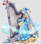 1girl blue_dress blue_eyes blue_hair braid dress flower grey_background hair_flower hair_ornament harp instrument katagiri_hachigou lapras long_hair long_sleeves music personification playing_instrument pokemon profile sitting solo