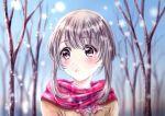 1girl blush brown_hair highres open_mouth original scarf school_uniform short_hair snow snowflakes snowing tarou_oekaki uniform winter