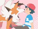 1boy baseball_cap black_hair blue_shirt brown_eyes brown_shorts closed_eyes commentary_request emphasis_lines eye_contact gen_7_pokemon hat heart licking looking_at_another lycanroc okaohito1 pink_background pokemon pokemon_(anime) pokemon_(creature) pokemon_sm_(anime) satoshi_(pokemon) shirt short_sleeves shorts simple_background sitting spiky_hair tongue tongue_out