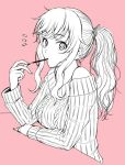1girl bare_shoulders eating food idolmaster idolmaster_cinderella_girls long_hair nigou ootsuki_yui pink_background pocky ponytail simple_background solo sweater