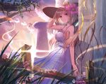 1girl aki_rosenthal alternate_costume bangs bare_shoulders blonde_hair breasts closed_mouth clouds collarbone cracked_wall dress flower grass hat hat_flower highres holding holding_hat hololive long_hair outdoors parted_bangs sideboob sky solo sun_hat ten_no_hoshi tree_branch violet_eyes virtual_youtuber white_dress