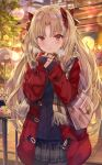 1girl :t alternate_costume aran_sweater bag bangs black_legwear black_skirt blush bow breath brown_scarf building casual closed_mouth coat cowboy_shot day duffel_coat ereshkigal_(fate/grand_order) eyebrows_visible_through_hair fate/grand_order fate_(series) fringe_trim hair_bow handbag highres long_hair miniskirt night open_clothes open_coat outdoors own_hands_together pantyhose parted_bangs plaid plaid_scarf plaid_skirt pleated_skirt pout purple_sweater red_bow red_coat scarf shoulder_bag skirt sleeves_past_wrists solo sweater torino_akua two_side_up very_long_hair