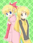 2girls :d black_eyes blonde_hair blue_eyes breasts cape checkered checkered_background commentary_request detached_sleeves dress flat_chest green_background hair_ornament hair_ribbon highres long_hair long_sleeves marron_(pokemon) mijumaruko multiple_girls open_mouth pink_dress pink_ribbon pokemon pokemon_pipipi_adventure pokemon_special ribbon small_breasts smile star yellow_(pokemon) yellow_dress