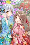 2girls :d bangs berries blue_flower blue_kimono blue_nails breasts brown_hair closed_mouth commentary_request eyebrows_visible_through_hair floral_print flower hair_between_eyes hair_flower hair_ornament hatsumoude highres holding japanese_clothes kimono long_hair long_sleeves minamoto_mamechichi multiple_girls nengajou new_year obi official_art open_mouth orange_eyes pinching_sleeves pink_flower pink_nails print_kimono purple_flower re:wing red_eyes red_flower sash silver_hair sleeves_past_wrists small_breasts smile takazora_ui tree_branch upper_teeth very_long_hair washio_rena wide_sleeves yellow_flower