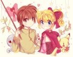 1boy 1girl :d almond_(pokemon) apple blonde_hair blush breasts brown_eyes brown_hair cape creature crescent english_commentary food fruit gen_1_pokemon hair_ribbon happy heart highres holding holding_food holding_fruit kash-phia long_hair long_sleeves looking_at_viewer love_potion marron_(pokemon) medium_hair open_mouth pikachu pink_ribbon pokemon pokemon_(creature) pokemon_pipipi_adventure ribbon small_breasts smile squirtle star upper_body violet_eyes