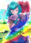 2girls aqua_hair blue_gloves closed_eyes closed_mouth commentary_request eyebrows_visible_through_hair fingerless_gloves gloves hagoromo_lala highres hoshina_hikaru hug multicolored_hair multiple_girls pink_hair precure precure_cure_moonlight redhead short_hair smile star star_twinkle_precure streaked_hair tears twintails