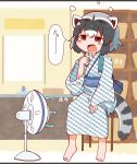1girl after_bath animal_ears barefoot blush_stickers bottle brown_eyes common_raccoon_(kemono_friends) electric_fan fang grey_hair highres holding holding_bottle indoors japanese_clothes kemono_friends kimono raccoon_ears raccoon_tail rakugakiraid sash sitting solo striped_tail tail unmoving_pattern