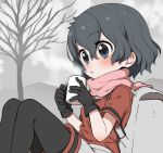 1girl backpack bag black_gloves black_hair black_legwear blue_eyes blush commentary_request cup eyebrows_visible_through_hair gloves grey_shorts hot_drink kaban_(kemono_friends) kemono_friends mug no_hat no_headwear pantyhose pink_scarf ransusan red_shirt scarf shirt short_hair short_sleeves shorts shorts_under_skirt sitting solo steam t-shirt winter
