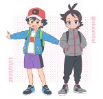 2boys artist_name baseball_cap black_hair black_pants blue_eyes blue_footwear blue_jacket brown_backpack brown_eyes commentary_request dark_skin dark_skinned_male dated gou_(pokemon) green_backpack grey_footwear grey_jacket hand_in_pocket hat jacket multiple_boys okaohito1 open_mouth pants pocket pokemon pokemon_(anime) pokemon_swsh_(anime) purple_shorts red_legwear satoshi_(pokemon) shirt shoelaces shoes shorts smile sneakers socks spiky_hair twitter_username upper_teeth white_shirt winter_clothes zipper