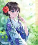 1girl alternate_hairstyle brown_hair day floral_print flower grass green_eyes hair_bun hair_flower hair_ornament hand_up highres idolmaster idolmaster_cinderella_girls japanese_clothes kimono light_particles obi sash shibuya_rin smile solo sudare summer tazu twitter_username wind_chime yukata