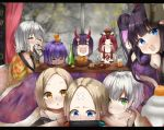 6+girls abigail_williams_(fate/grand_order) ahoge bandaid_on_forehead beer_can benienma_(fate/grand_order) bottle can cellphone dark_skin drinking fate/grand_order fate_(series) food fruit glass hassan_of_serenity_(fate) hat horns ibaraki_douji_(fate/grand_order) jack_the_ripper_(fate/apocrypha) jeanne_d'arc_(alter)_(fate) jeanne_d'arc_(fate)_(all) kotatsu mandarin_orange mash_kyrielight multiple_girls nintendo_switch parusu_(ehyfhugj) paul_bunyan_(fate/grand_order) phone playing_games scar scar_across_eye self_shot shuten_douji_(fate/grand_order) smartphone smile table yang_guifei_(fate/grand_order)