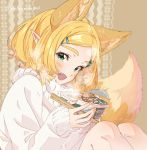 1girl animal_ears bangs blonde_hair blush bowl chopsticks fang fox_ears fox_girl fox_tail green_eyes hair_ornament hairclip instant_ramen knees_to_chest long_sleeves looking_at_viewer open_mouth parted_bangs patterned_background pointy_ears princess_zelda short_hair shuri_(84k) sitting smile solo steam sweater tail the_legend_of_zelda the_legend_of_zelda:_breath_of_the_wild the_legend_of_zelda:_breath_of_the_wild_2 thick_eyebrows twitter_username white_sweater